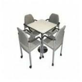 TS-06 화이트 사각 가죽 세트 테이블+의자4개